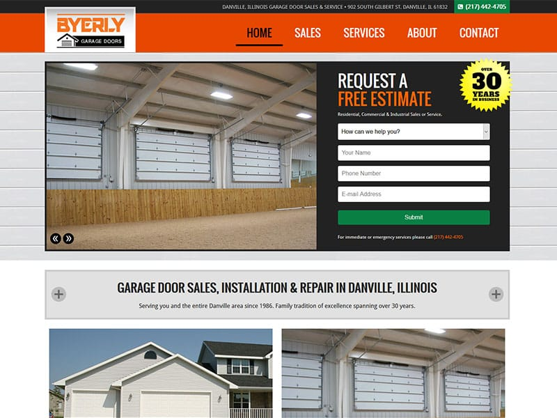 Byerly Garage Door Website Designed by Awebco