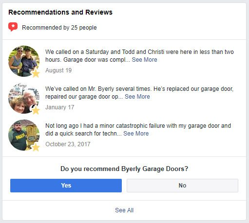 Byerly Garage Doors Facebook Reviews