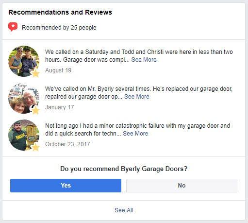 Byerly Garage Doors Facebook Reviews