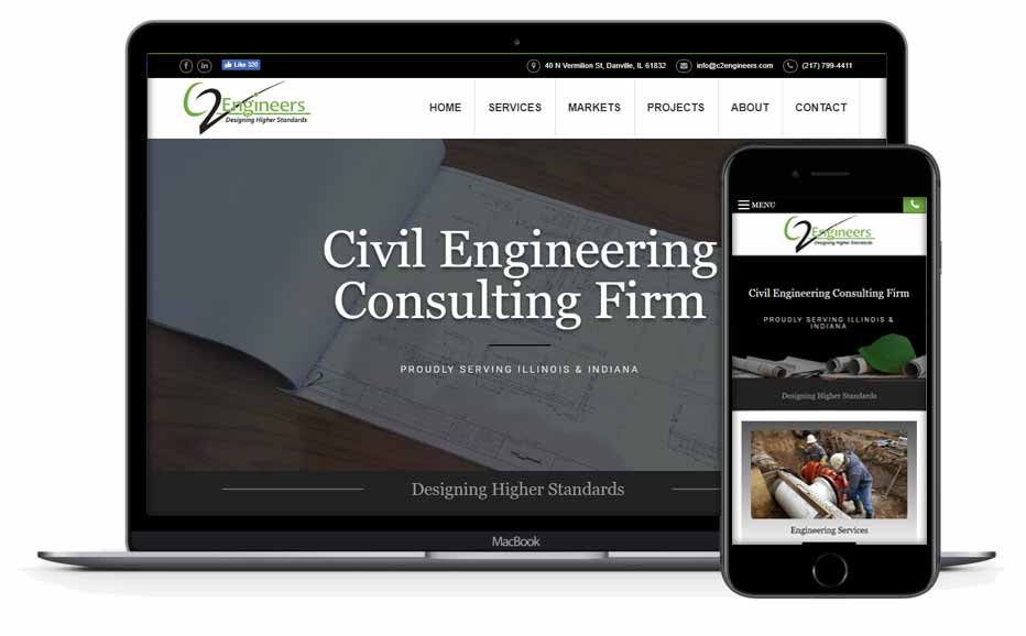 C2 Engineers website design in Illinois