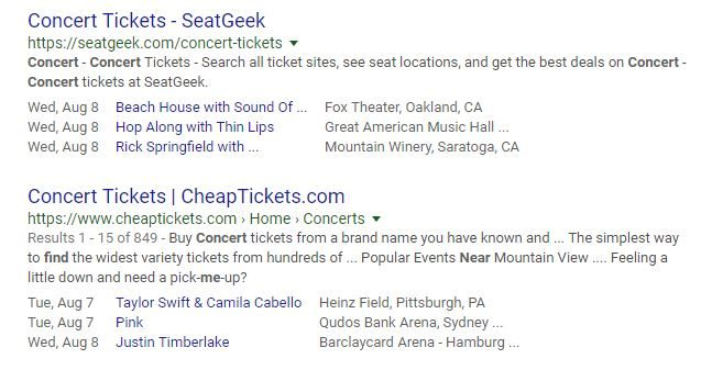 """""""Concerts Near Me"""" Search Results with Event Listing Schema"""