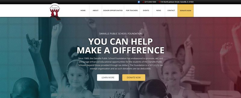 Danville Public School Foundation Website Hero Example
