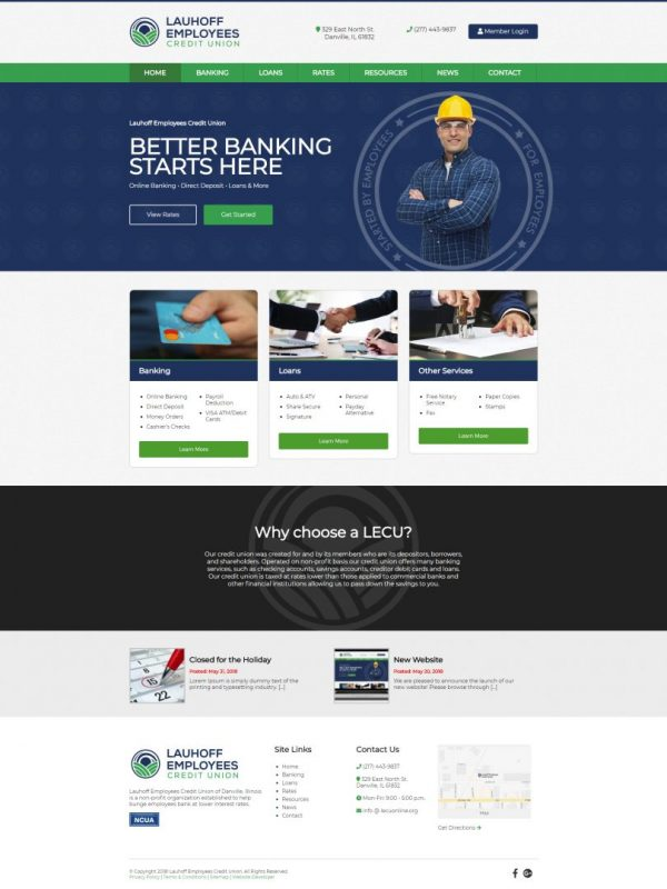 Lauhoff Employees Credit Union website design in Illinois