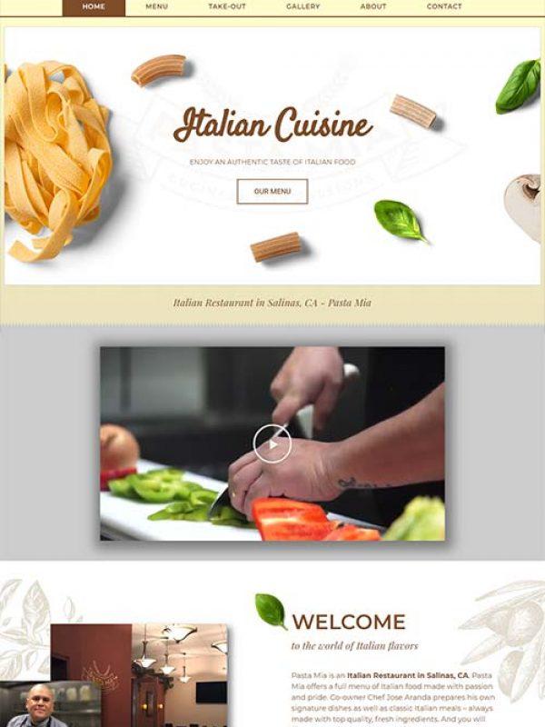 Pasta Mia - Restaurant Website Design