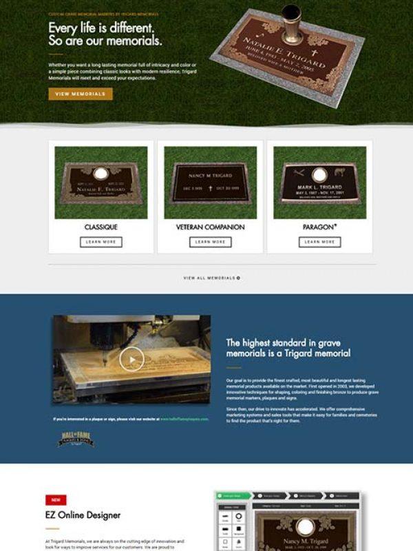 Trigard Memorials - Custom Website Designed by Awebco