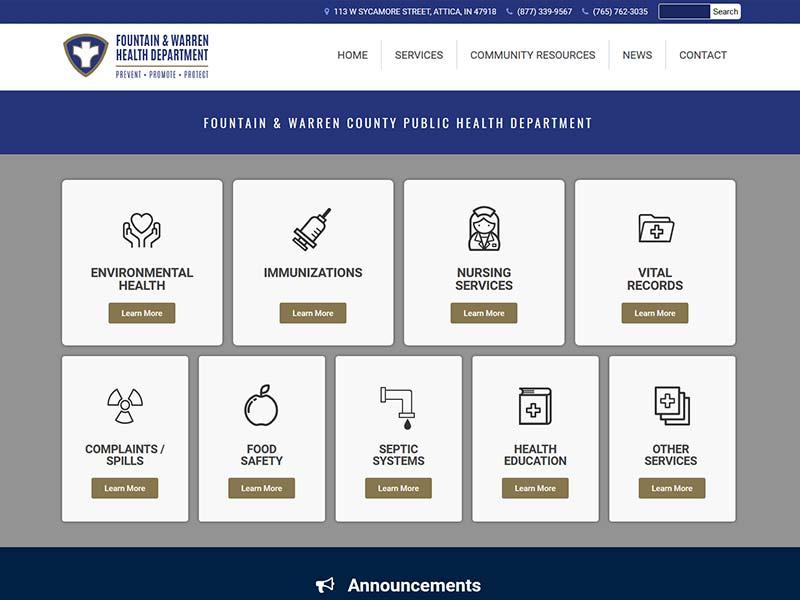 Fountain & Warren Health Department Website Design