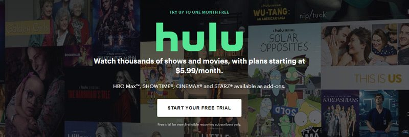 Hulu Free Trial Call to Action