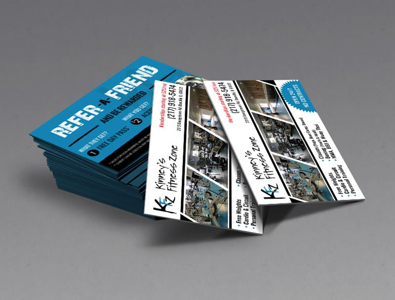Kinney's Fitness Zone Business Card Design