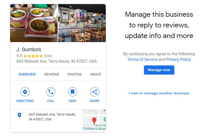 Manage This Google My Business Listing Screen