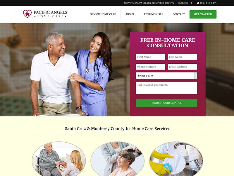 Pacific Angels Home Care Website design services by AWEBCO