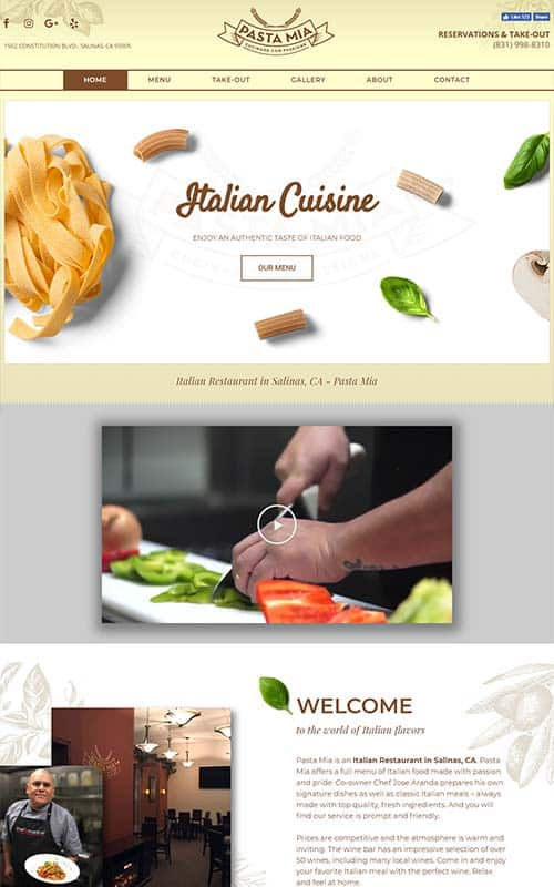 Pasta Mia - Restaurant Website Design
