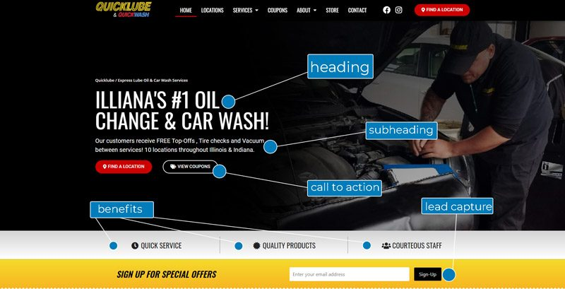 Quicklube website project: hero example above the fold