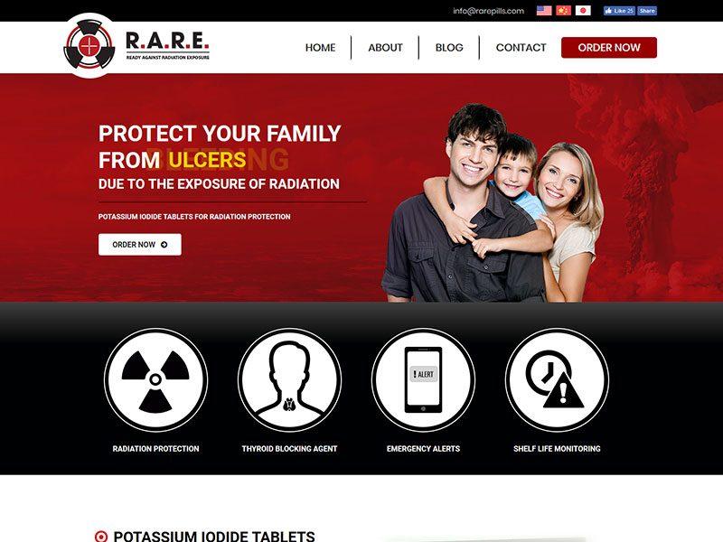 RARE Pills website development and design