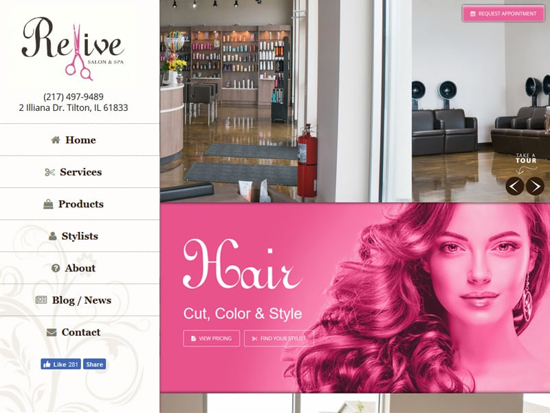 Revive Salon & Spa Website Designed by Awebco