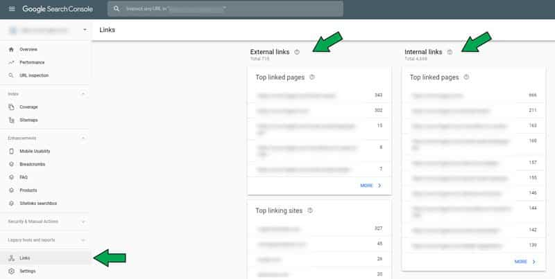 Search Console Internal Linking Report