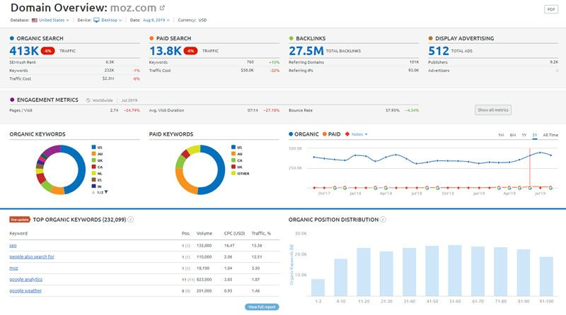 SEMrush screenshot - Domain Analytics