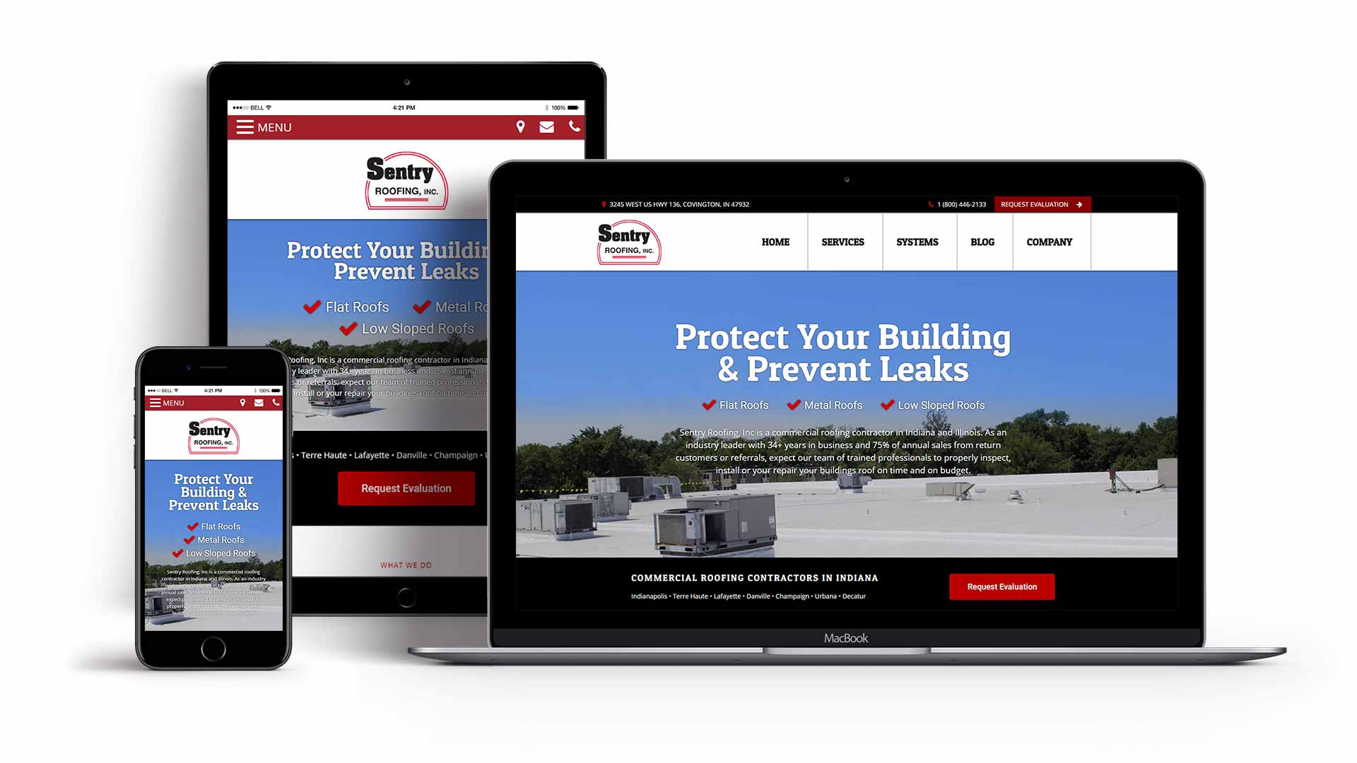 Sentry Roofing Website Designed by Awebco