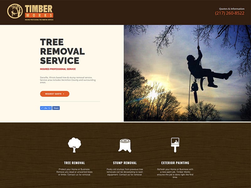 Timber Works Tree Service Website Design by Awebco