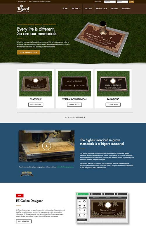 Trigard Memorials - Custom Website Designed by Awebco