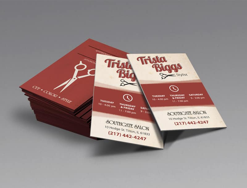 Trista Biggs - Hairdresser / Stylist Business Cards Designed by Awebco