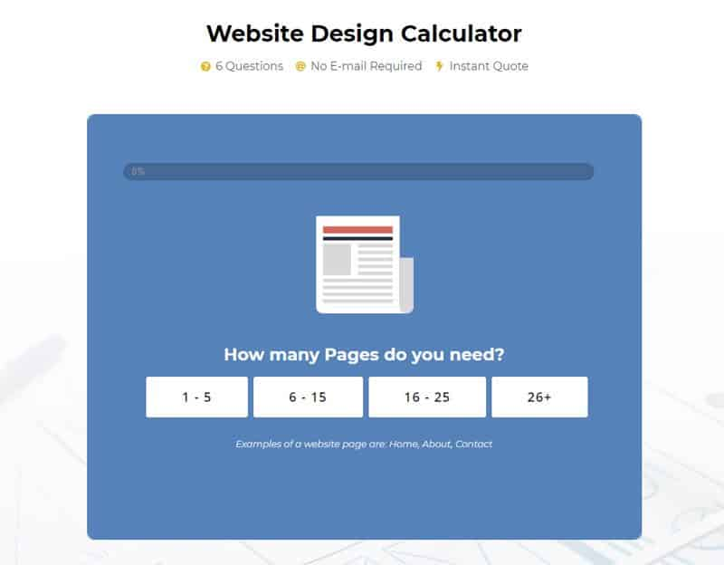 Use our website design cost calculator